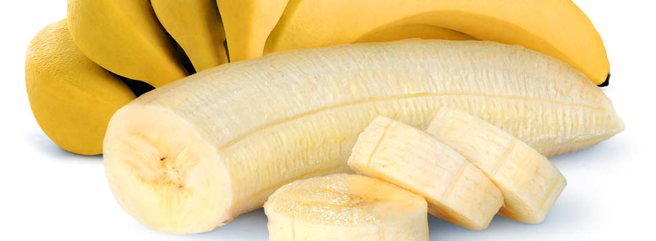Plátano. Beneficios y riesgos - Plátano en rodajas