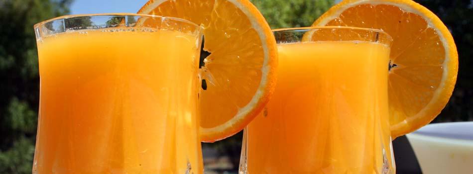 Zumo de frutas y bebidas azucaradas. Zumo de naranja