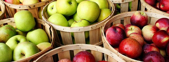 Manzana. Cestos.